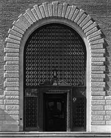 monochrome photo of the entrance to the University Library