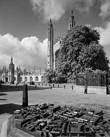 monochrome photo of Kings College Chapel