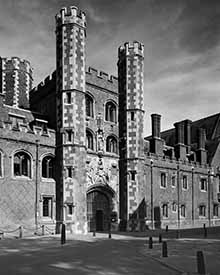 black and white photo of the Great Gate St Johns College